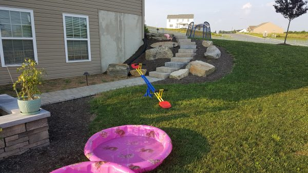 yard with childrens' toys